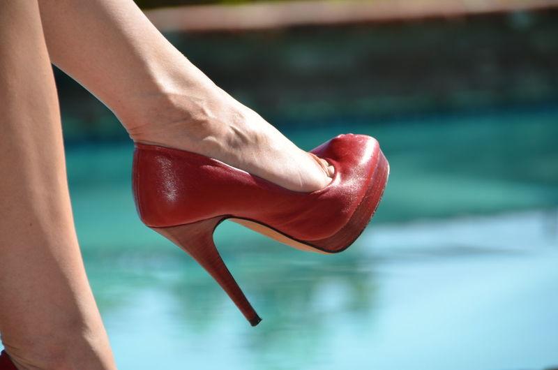 Fashion Female Person Red Shoes Stiletto Stilettos Woman