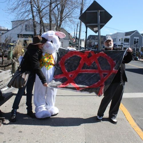 AnarchoBunny PortJefferson March for Peace & Justice Anarchy Easter bunny noDrones StopWars nofilter