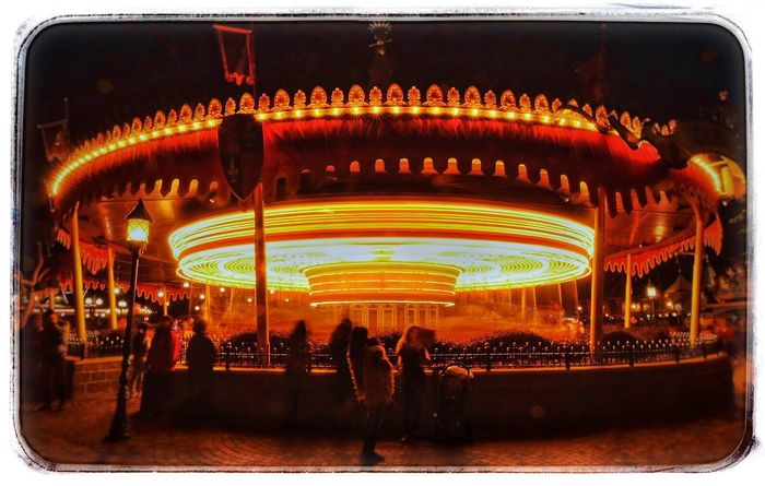Illuminated Architecture Night Merry-go-round Slow Shutter Light Tracks Scenics Hong Kong Disneyland Nightphotography Low Angle View