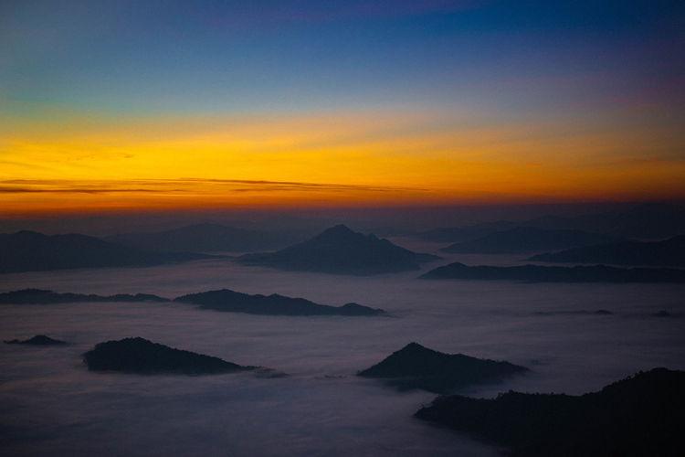 Phu Chi Dao Beauty In Nature Scenics - Nature Tranquil Scene Sunset Cloud - Sky Tranquility Idyllic Mountain Range Mountain Sky