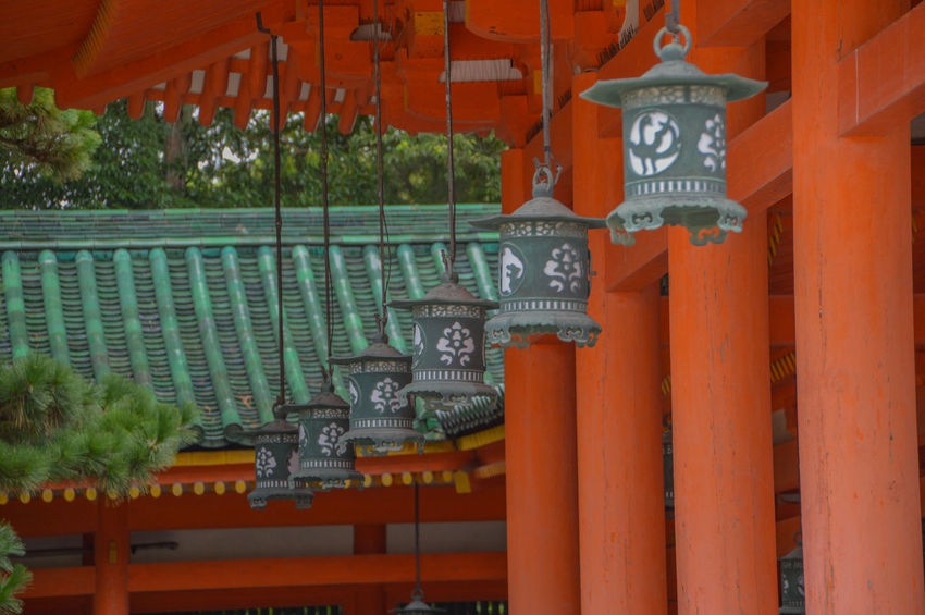 Heian Shrine Laterns At Kyoto Japan HEIAN Heian Shrine Japan Japanese  Shrine Close-up Heian Jingu Kyoto Laterns Orange Color Red Religion Shinto Shintoism