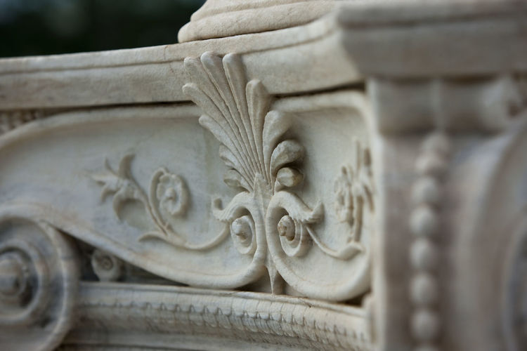 Close-up of carving on marble