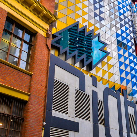 Old and New Aluminium And Glass Architectural Feature Architecture Blue Brick Building Building Built Structure City City Life Envision The Future Low Angle View Modern Office Building Old And New Architecture Repetition The Architect - 2016 EyeEm Awards Triangles TakeoverContrast