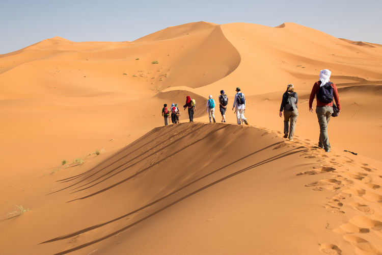 Group of people walking on sand dunes. Long shadows on the left side. Adventure Arid Climate Desert Dunes Dunes Of Merzouga Extreme Terrain Landscape Maroc Medium Group Of People Merzouga Merzouga Sahara Desert Trippin Morocco Outdoors Sahara Desert Sand Shadows & Lights Travel Destinations Vacations First Eyeem Photo Be. Ready.