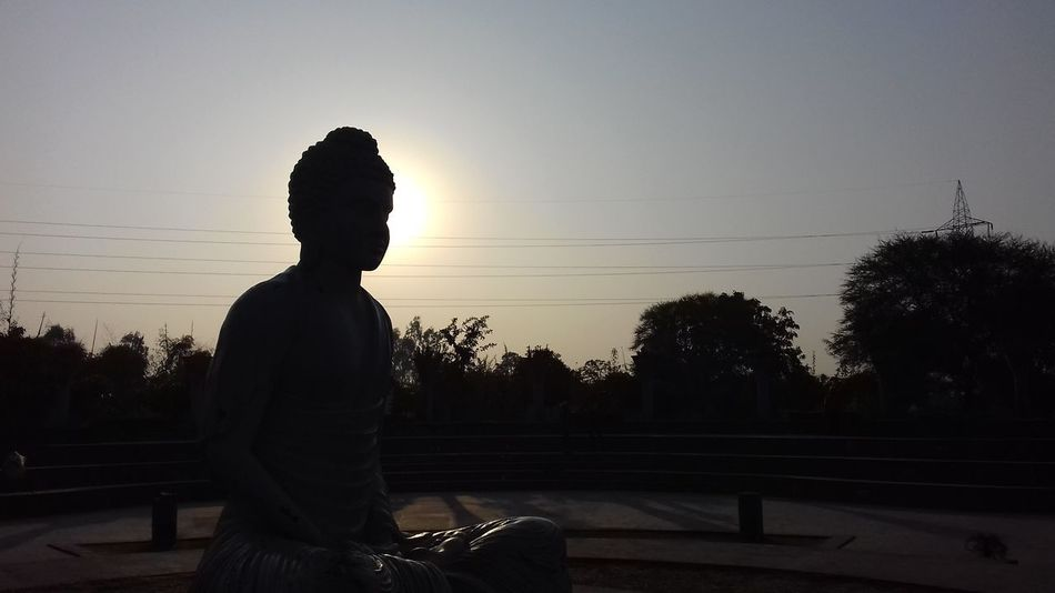 Lord Buddha Park Statue Silhouette Sunset Tree Sky Day Nature Outdoors