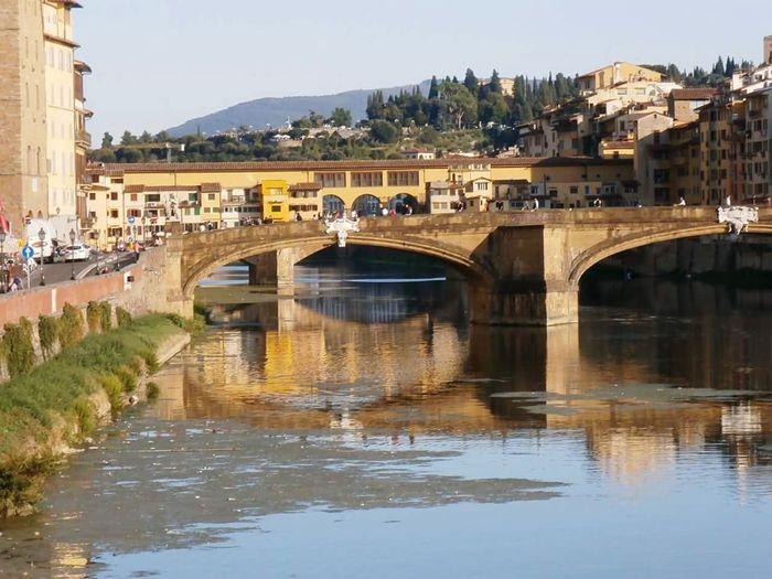 Firenze Ponte Vecchio Fiume Arno Giorno Biutifull Photo Cita Tranquil Scene