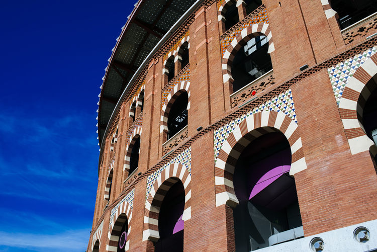 Facade of the bullring Las Arenas in Barcelona, Spain. Barcelona Barcelona, Spain Catalonia Catalunya Europe Trip Las Arenas Las Arenas, Barcelona SPAIN Tourist Attraction  Travel Travel Photography Architecture Building Exterior Bullring Day Europe History No People Outdoors Tourism Travel Destinations Window