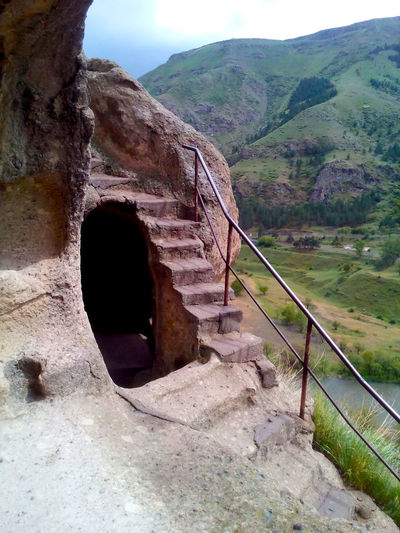 View of staircase of mountain