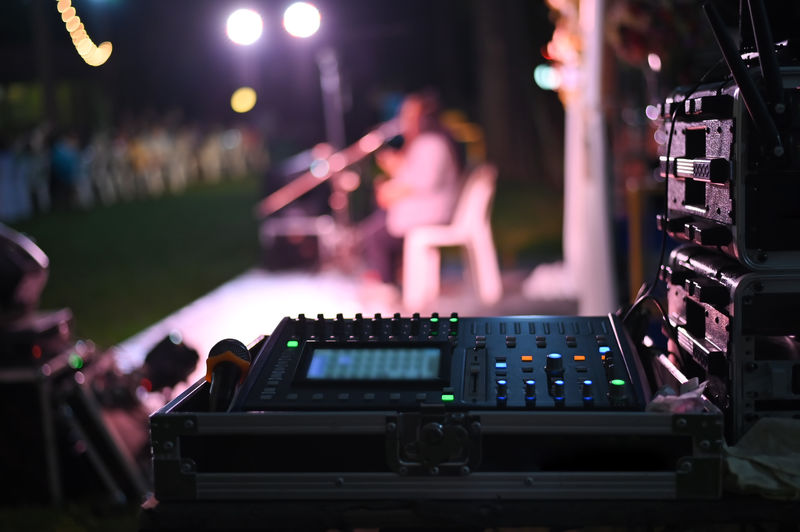 Close-up of musical equipment during concert