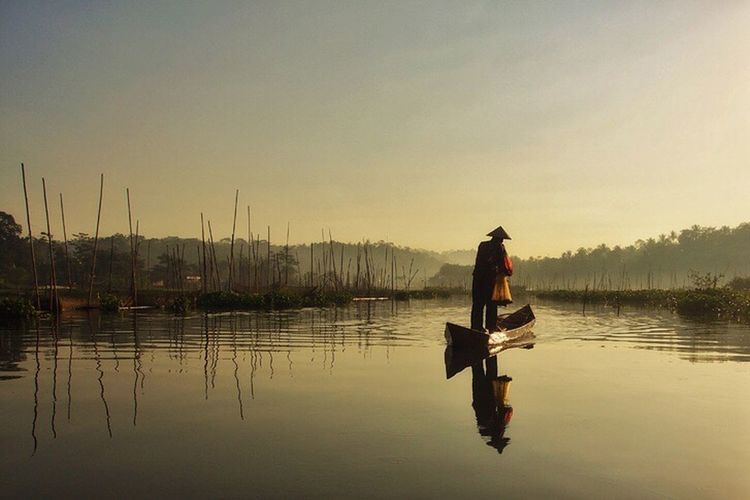 Water Lake Reflection Fishing Landscape Morning Fisherman INDONESIA