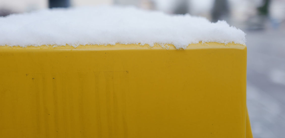 Deutsche Post Post Snow ❄ Alcohol Background Close-up Cold Temperature Day Drink Food Food And Drink Freshness Frothy Drink Nature No People Outdoors Refreshment Snow Winter Yellow Yellow Background