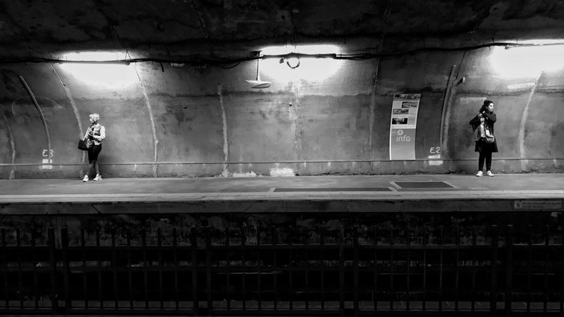 Metro Station Alesia Lifestyle 😀 Paris France Moment People Track Standing Waiting City Blackandwhite Bnw Black And White Streetphotography EyeEm IPhoneography Iphoneonly Outofthephone IPhoneography Tourist Attraction  Travel Destinations City Life Railroad Station Platform Railroad Station Place To See