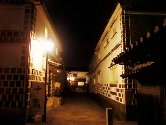 Hi! Hello World Taking Photos Outdoors Night Photography Night Lights Night No People Check This Out Architecture TOWNSCAPE Illuminated Enjoying Life EyeEmNewHere Lighting Equipment Alley Japan Photography Cultures Kurashiki Japan 倉敷 美観地区 春宵あかり