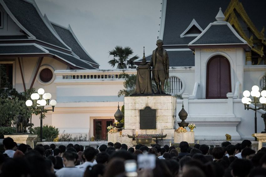 RAMA9 I Love King Sad Day Standing Thailand Architecture Building Exterior Built Structure Crowd Day Large Group Of People Lifestyles Men Outdoors People people and places Place Of Worship Real People Religion Togetherness Women
