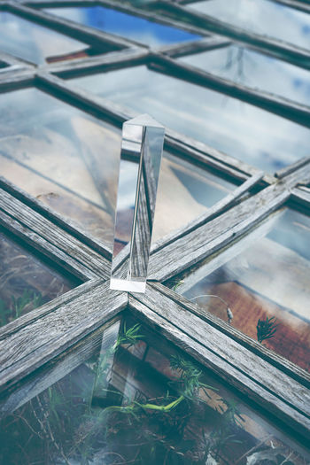 Alloy Architecture Built Structure Close-up Day Focus On Foreground Glass - Material High Angle View Metal Nature Nautical Vessel No People Outdoors Reflection Selective Focus Steel Still Life Transparent Water Window