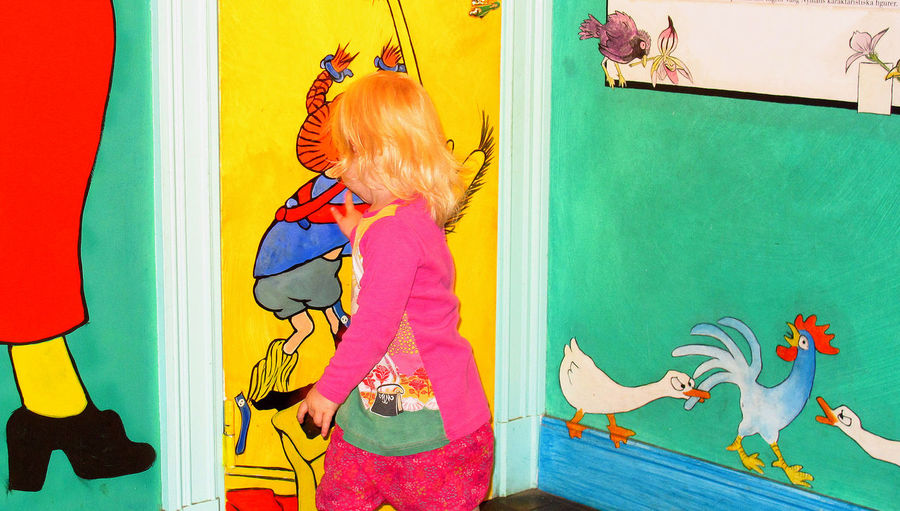 Wall art in the Museum of Fairy Tales - Stockholm, Sweden People Real People Bird Wall Art Day Childhood Indoors  Blond Hair Stockholm, Sweden One Person Multi Colored Animal Themes Animal Representation Blond Child Fairy Stories Museum Of Fairy Tales