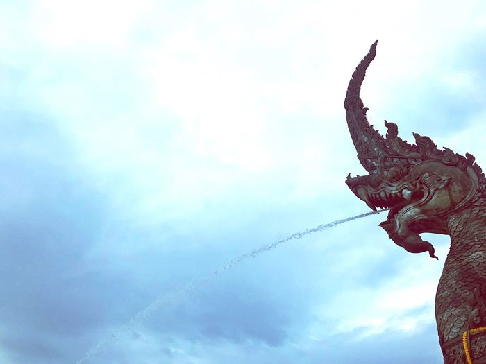 Cloud - Sky Sky Statue Sculpture Religion Spirituality Low Angle View Dragon Art And Craft EyeEmNewHere