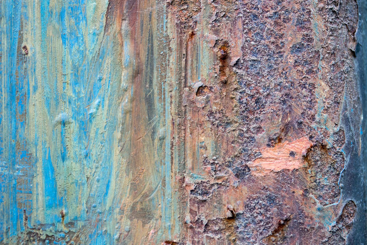 Rusty metal surface and cracking texture Backgrounds Built Structure Close-up Day Full Frame Metal, Rusty, Texture, Background, Surface, Abstract, Paint, Old, Pattern, Wall, Painted, Weathered, Textured, Dirty, Material, Rough, Blue, Rust, Broken, Brick, Damaged, Facade, Crack, Peel, Design, Multicolored, Closeup, White, Bright, Grunge, Outdoors, Nature No People Outdoors Pattern Rough Rusty Textured  Weathered