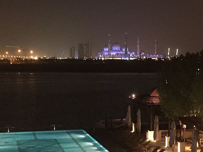 Connected By Travel Night Illuminated Built Structure Architecture Building Exterior Burning Outdoors No People Flame Urban Skyline Sky City Cityscape Nature UAE Abudhabi Grand Mosque Abu Dhabi