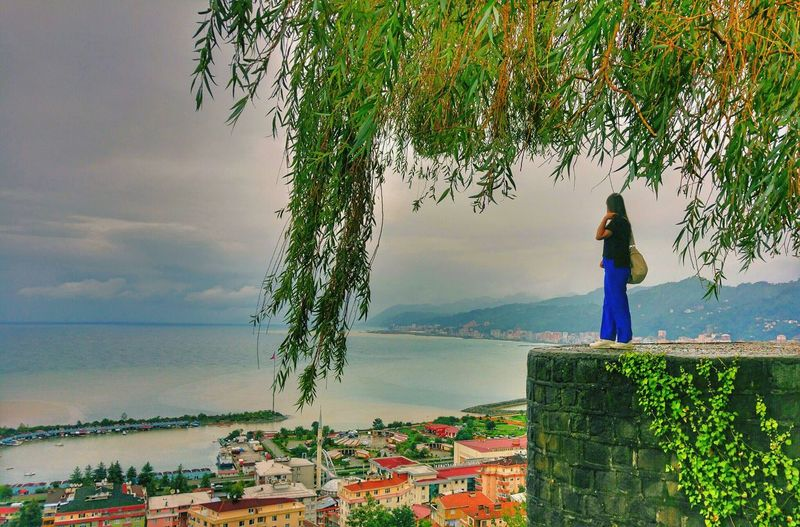 Rize Kalesi🌿 Castle Tree Springtime Green Color EyeEm Best Shots Woman Sky Kale Rizekalesi Standing Flower Beauty Horizon Over Water