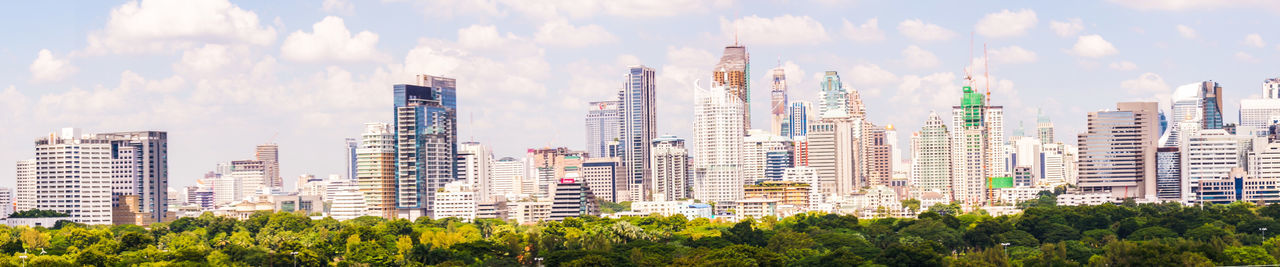 Panoramic Photography Panoramic View Bangkok Lumphini Park Towers And Sky Thailand Big Town