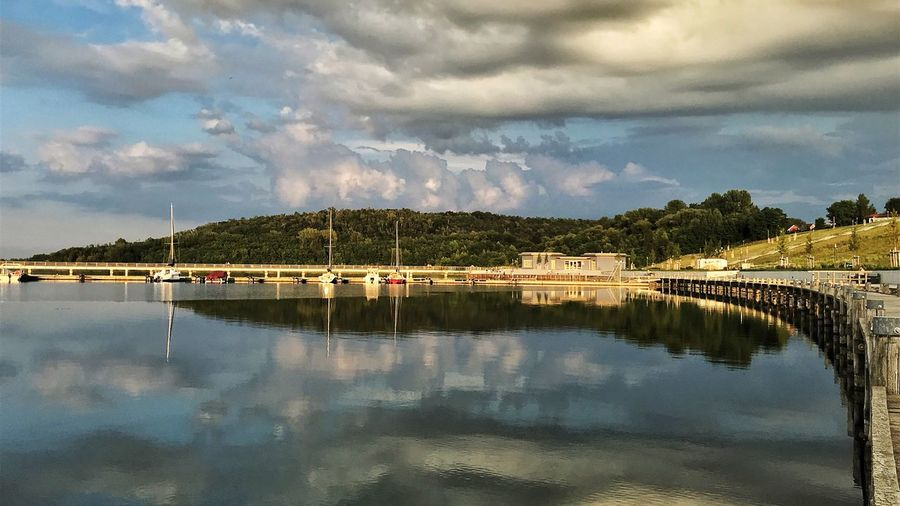 EyeEm Selects Cloud - Sky Sky Water Reflection Nature Mountain Scenics Beauty In Nature Lake Waterfront Day No People Outdoors Tranquil Scene Tree Architecture From My Point Of View Marina Braunsbedra Geiseltalsee Germany Cloudcollection EyeEm Gallery End Of The Day
