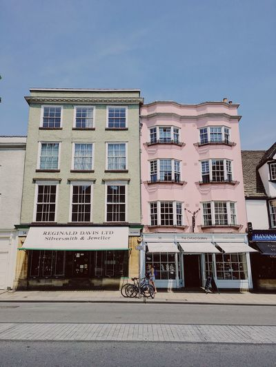 Oxford high-street, Britain. Architecture Bicycle Building Exterior Built Structure City Clear Sky Colorful Buildings Colourful Buildings Day No People Outdoors Sky Transportation Window