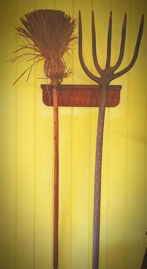 Broom Pitch Fork Vintage Antique Broom Antique Wooden Pitchfork Yellow Wall these things are really creepy with a '