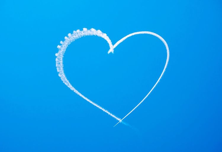 Love is in the Air Heart Sky Blue Love Skywriting Romantic Proposal Shapes