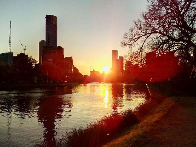 Melbourne Melbourne City Skyscrapers Skyscraper Sunset River Riverside River View Yarra Yarra River Romantic