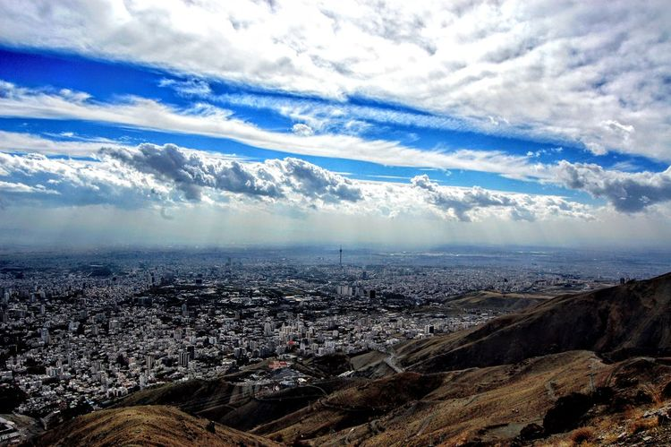Aerial View Landscape Cityscape Cloud - Sky Sky Crowded Tranquil Scene Scenics Tranquility Nature City Beauty In Nature Day Cloud Outdoors Cloudy Majestic Cloudscape Mountain Wide Shot Tehran, Iran Tochal