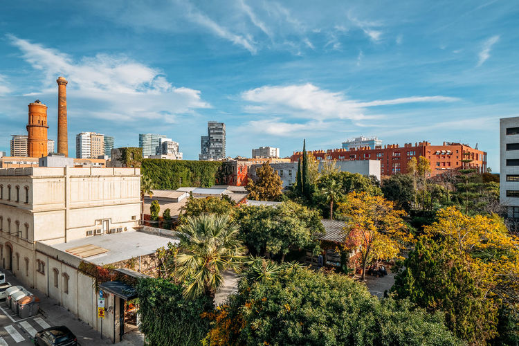 A view of an old industrial district converted into new modern neighbourhood in barcelona