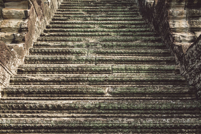 Siem Reap Cambodia Angkor Angkor Wat Angkor Wat, Cambodia Architecture Staircase Direction The Way Forward No People Steps And Staircases Pattern Built Structure Day Low Angle View Moving Up Railing Outdoors Old Nature Empty In A Row Stone Material Leadership