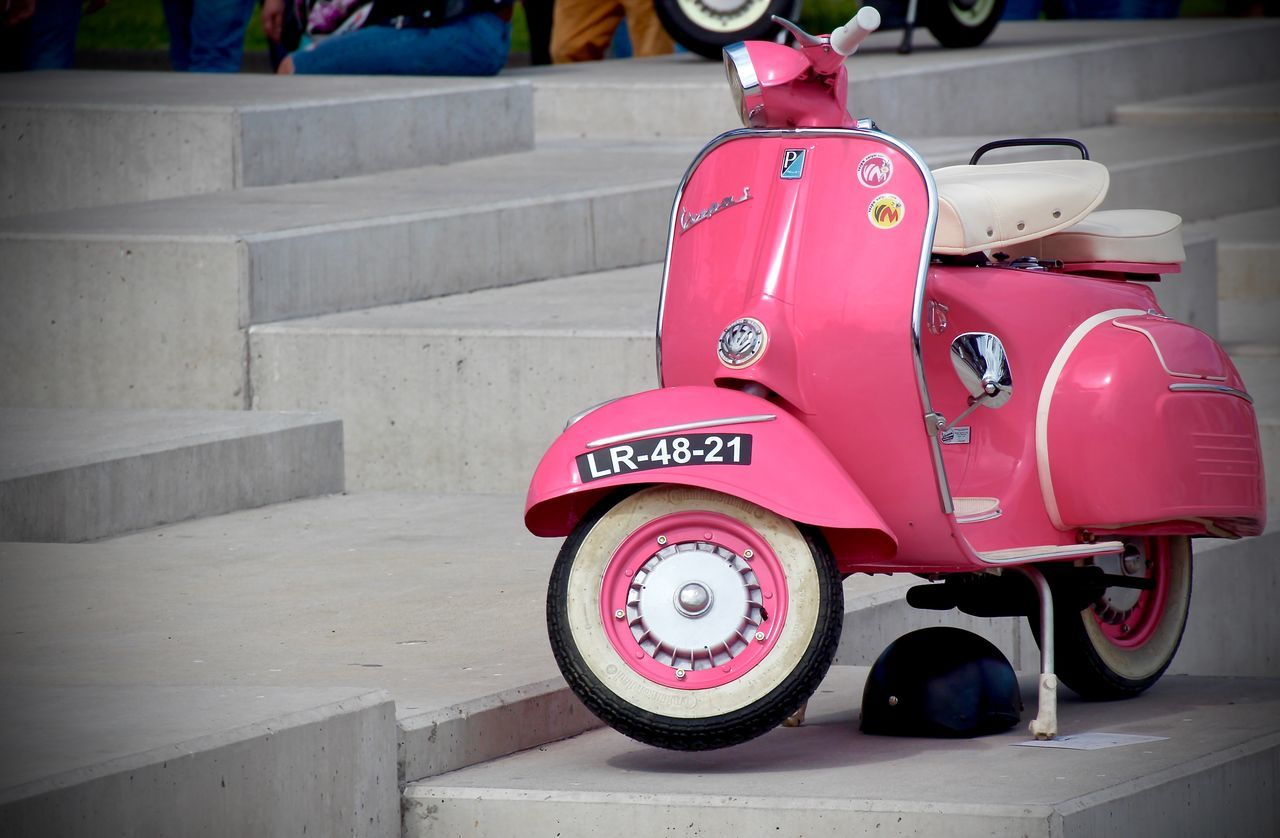 land vehicle, transportation, red, mode of transport, pink color, stationary, day, no people, outdoors, close-up