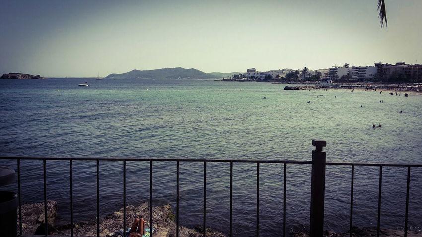 Strand Bucht Isla De Ibiza Balearen Ibiza Stadt Blue Ocean Blue Sky Meer Insel Sunshine Summerday Ibiza