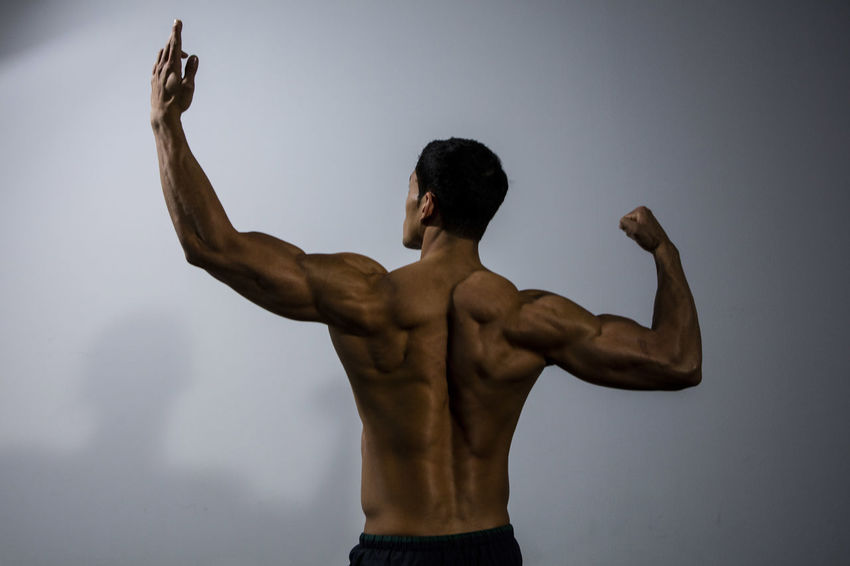 Muscular male fitness model posing behind a grey wall. Back muscles demonstration. Medium shot. Adult Asian  Athlete Body & Fitness Human Body Man Nam Vo Rear View Shirtless Sportsman Back Muscles Fitness Model Grey Wall Handsome Human Back Hunk Male Medium Shot Muscle Muscular Build One Person Studio Shot Torso Triceps Upper Body