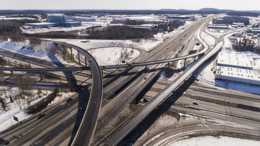 High angle view of bridge in city during winter