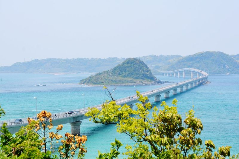 Tsunoshima Road Water Sky Mountain Nature Sea Beauty In Nature Bridge Clear Sky