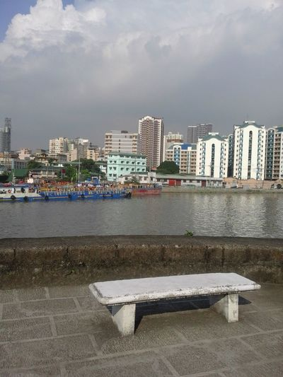 Bench Manila, Philippines Riverside Spanish Architecture Architecture Building Exterior Built Structure City Cityscape Day Gloomy Intramuros,manila No People Outdoors River Sky Water White Chair