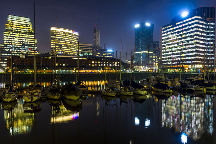 Night in Puerto Madero, Buenos Aires, Argentina. August 2016. Architecture Boats City Cityscape Financial District  Illuminated Long Exposure Modern Night No People Office Building Puerto Madero, Buenos Aires Reflection Relaxing River Skyline Skyscraper Urban Skyline Water Waterfront
