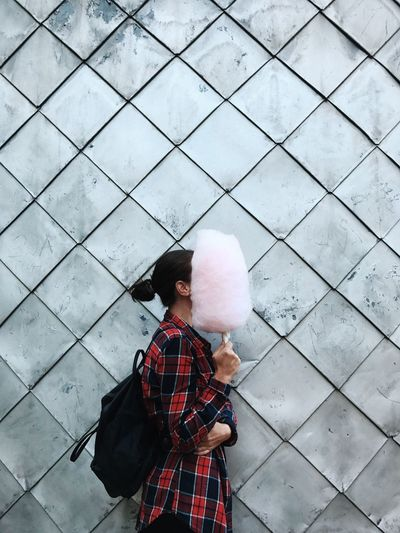Woman Holding Cotton Candy