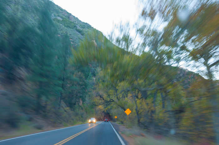 Blurred Motion Canyon Car Driving Headlights Highway Mountain Outdoors Road The Drive Transportation Tree