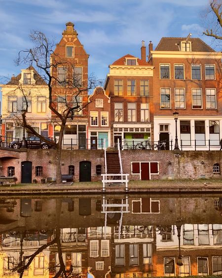 Reflections on the City centre canal Oudegracht in Utrecht, Netherlands Europe Holland Utrecht Canal Houses Dutch Culture Netherlands Building Exterior Built Structure Architecture Building Sky City Residential District No People Water Day Outdoors Cloud - Sky Reflection Transportation River