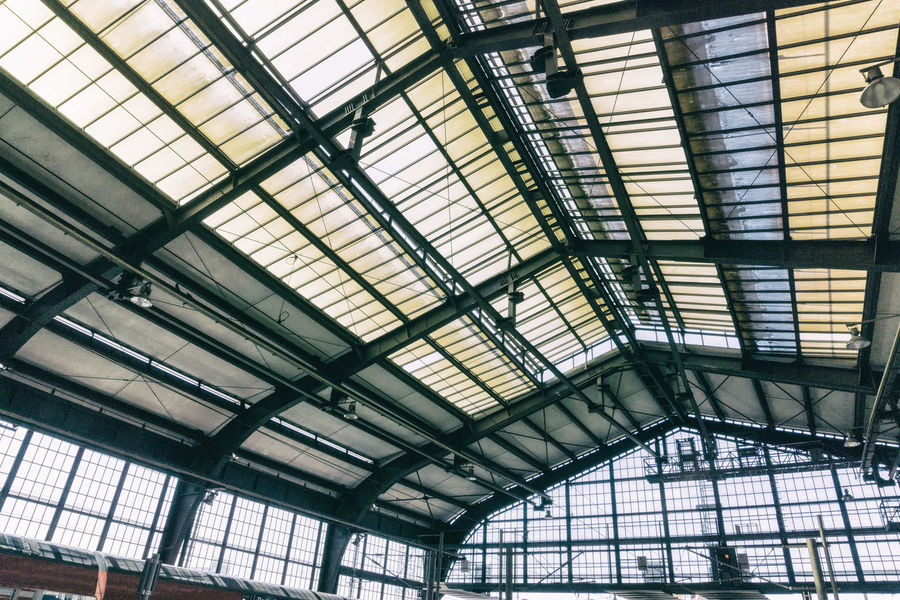 Transparent roof of Friedrichstrasse Station Berlin Friedrichstrasse Station Germany 🇩🇪 Deutschland Horizontal Roof Architecture Built Structure Ceiling Close-up Color Image Day Greenhouse Indoors  Low Angle View No People Roof Transparent