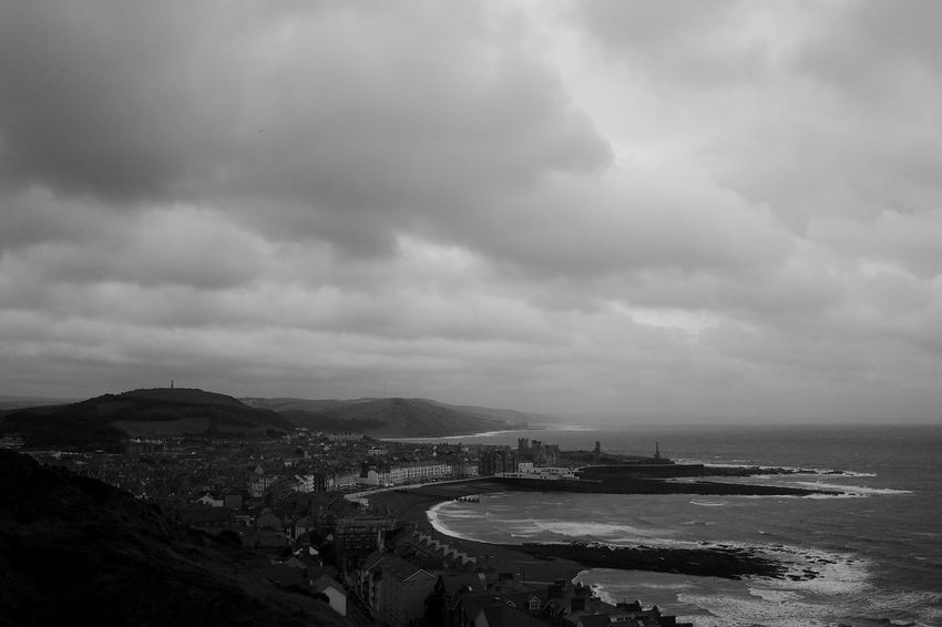 Aberystwyth Architecture Bay Beach Blackandwhite Built Structure Cloud - Sky Day Environment Land Overcast Sea Sky Tranquil Scene Water
