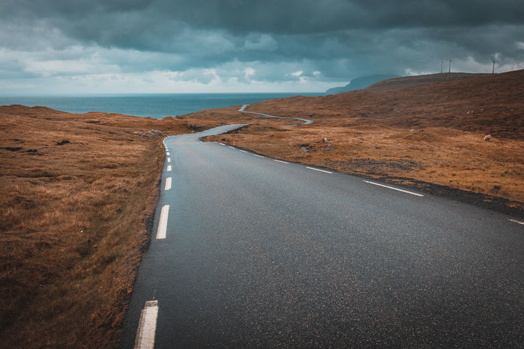 Empty road amidst landscape against cloudy sky