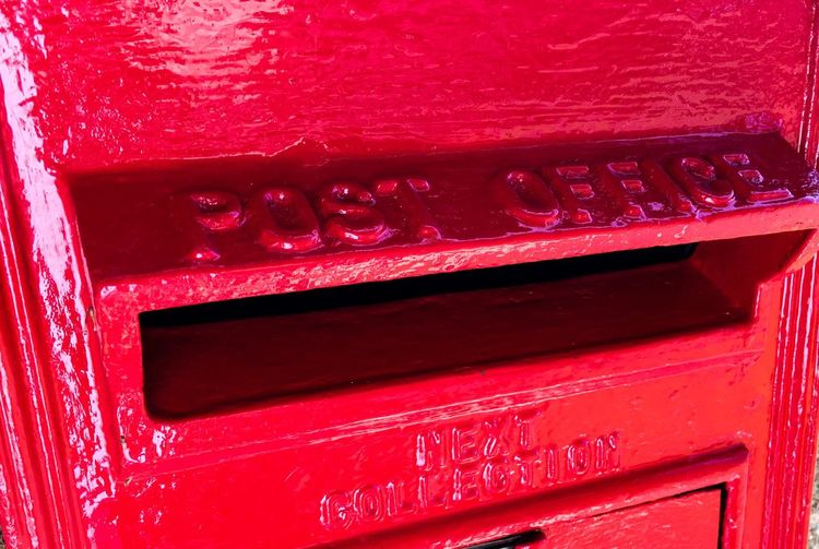 Mailbox Mail Slot Mail Communication Correspondence Public Mailbox Red Vibrant Color Metal Text Day Outdoors Envelope Global Communications Close-up Snail Mail Royal Uk English British Letter Letterbox Letter Box Box Post