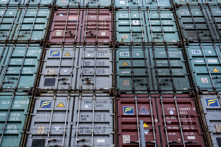 Container wall Box Business Finance And Industry Container Container Wall Day Europe Façade Full Frame Hamburg Germany Hamburg Harbour Metall No People North German Outdoors Technik  Text Transportation