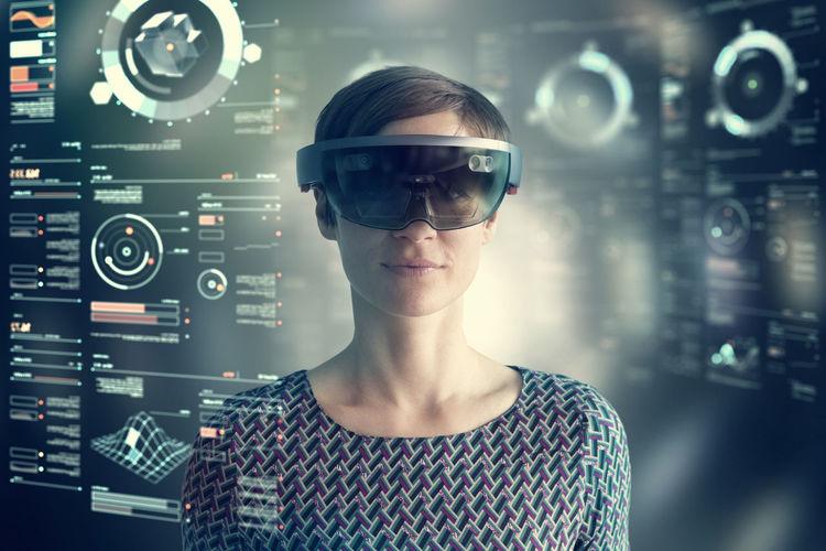 Digital composite image of woman using smart phone