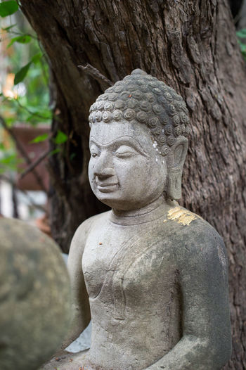 Close-up of buddha statue against tree